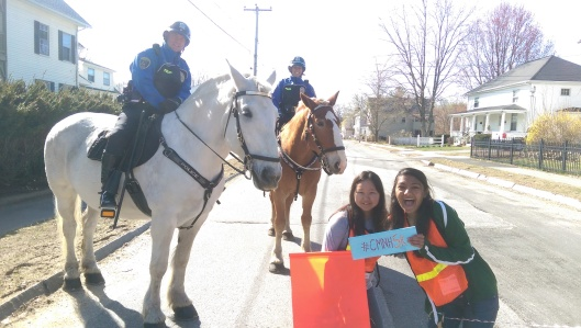 The Dover Mounted Patrol joined our volunteers at Rogers St in cheering on the races. (Which also convinced my son that there would be horses waiting for him at the end of every street we passed.)