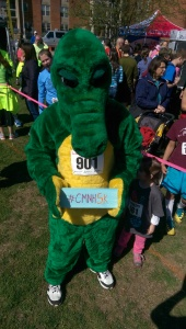 Long time Children's Museum 5K mascot, Albert the Alligator